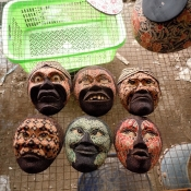 batik-wooden-masks-drying-after-boiling