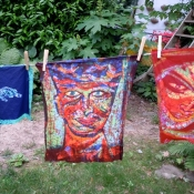 Drying Batik Portraits