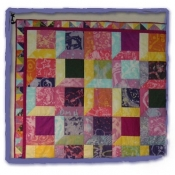 Extra student squares were sewn into a Crazy Quilt for The Montgomery School art room.