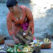 Balinese Woman Doing Offerings for Neypi