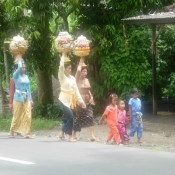 Balinese Women and Children Proceeding Home