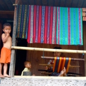 Children out Front of the Weaving Studio