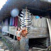 Children Staying Dry in Primitive Village Flores