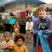 Daniel with Kids from Village in Western Flores