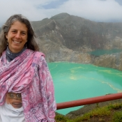 Laura in Front of her Dream Mt Kelimutu