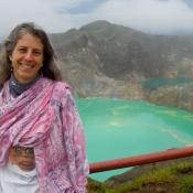 Laura in Front of her Dream Mt Kelimutu