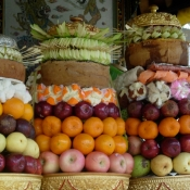 Offerings in Balinese Home Temple