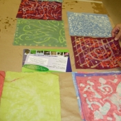Drying Finished Batiks at Upper Darby